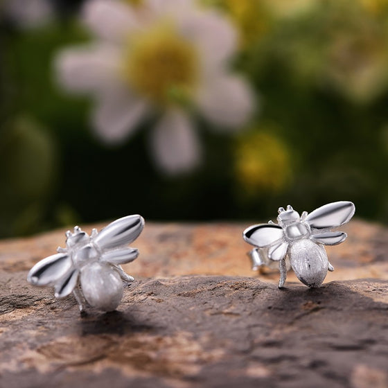 Handmade Cute Honeybee Stud Earrings - Sterling Silver 925