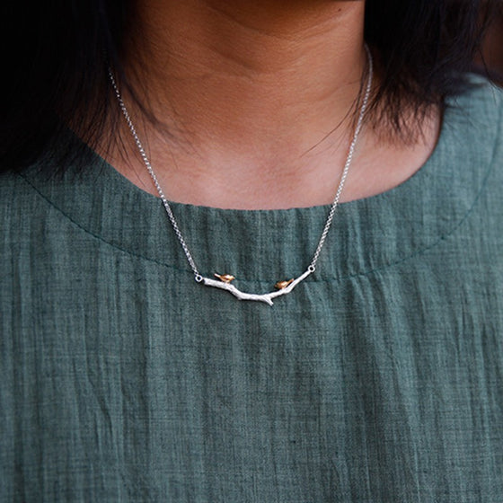 Handmade 'Bird on a Branch' Silver Necklace - Sterling Silver 925