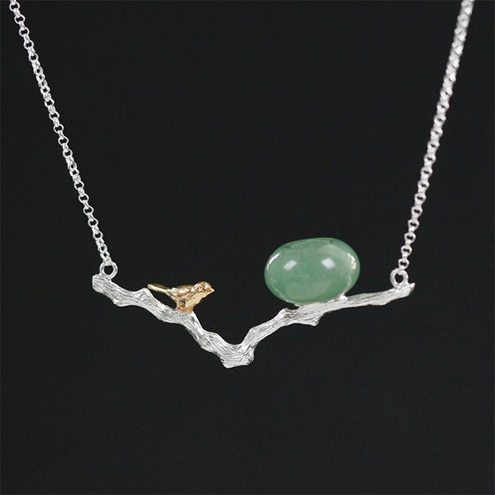 Handmade Bird Pendant Necklace - Sterling Silver 925
