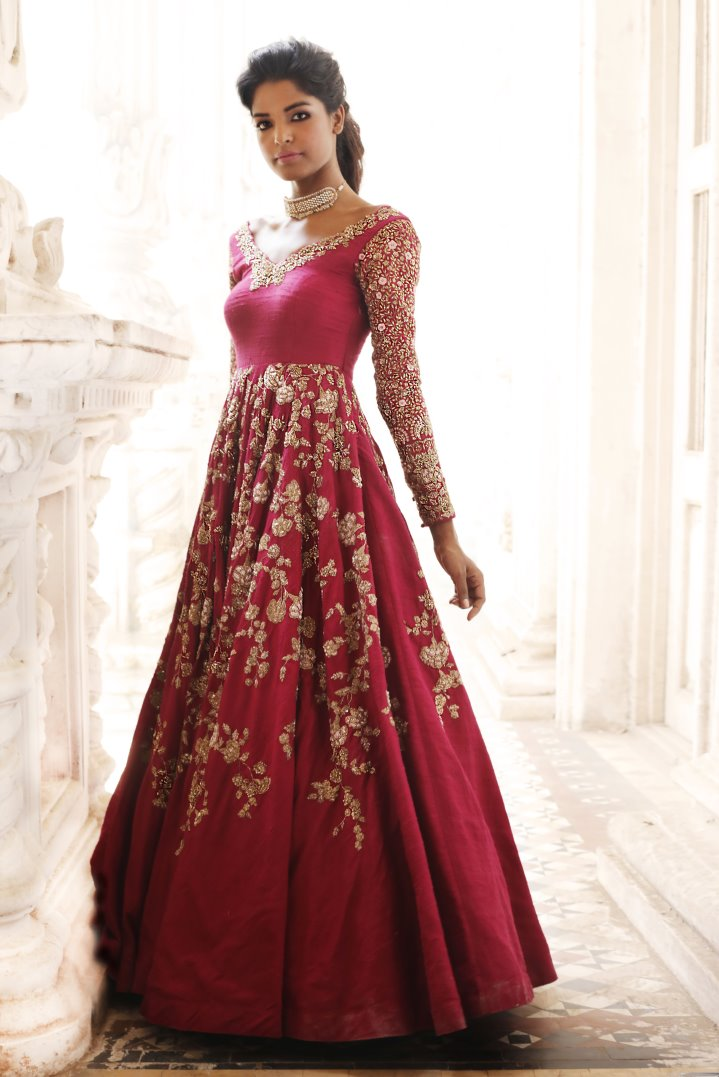 Beautiful Exclusive Designer Red Color Designer Dress-STYLIZONE