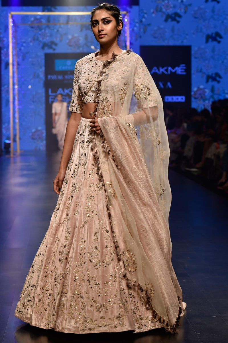 A109 Exclusive Designer Beige embroidered lehenga set-STYLIZONE