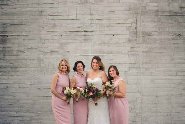 Emily's Bridesmaids in the Go Go Gown in Rose