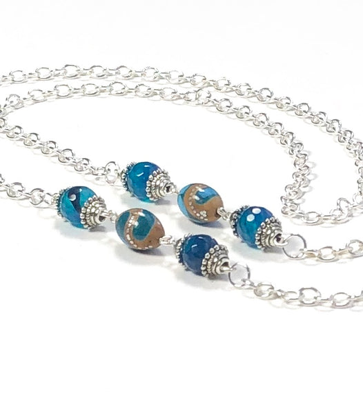 BLUE AGATE SILVER EYEGLASS CHAIN