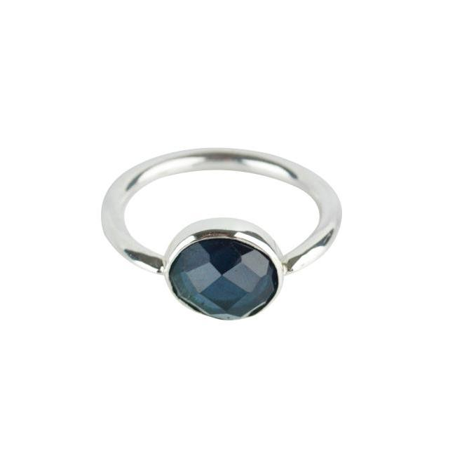 Deep Blue Tourmaline & Silver Ring - Size 5.25 / J - Amy Jennifer Jewellery
