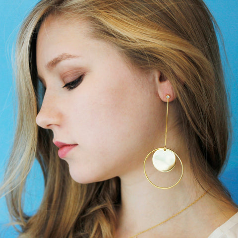 Round Circle Statement Earrings Gold