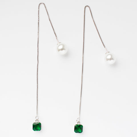 Pearl Emerald Crystal Chain Silver Earrings
