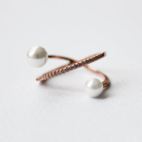 Rose Gold Ring with Pearl