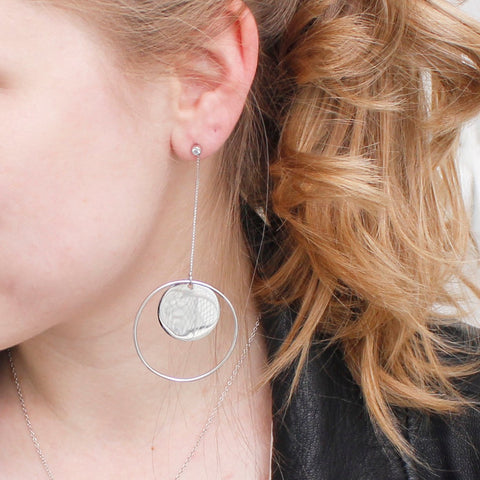 Round Circle Statement Earrings Silver