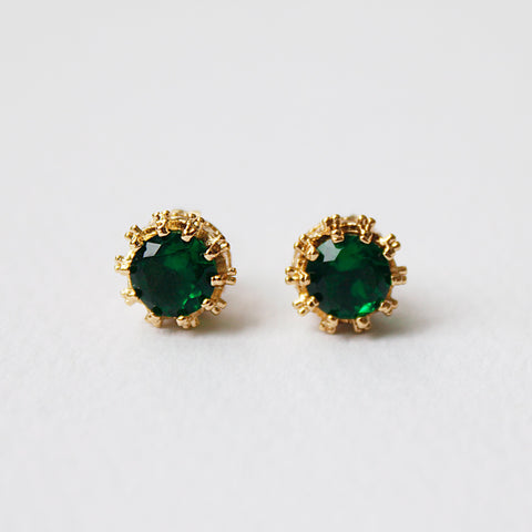 Emerald Crown 18K Gold Plated Stud Earrings