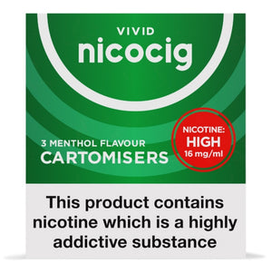 Nicocig (Nicolites) Electronic Cigarette High Strength Menthol Refill Cartridges Pack of 3