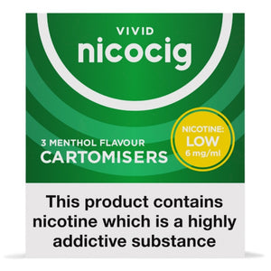 Nicocig (Nicolites) Electronic Cigarette Low Strength Menthol Refill Cartridges Pack of 3
