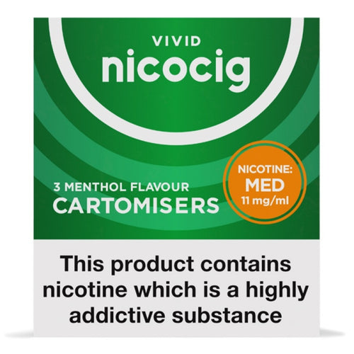 Nicocig (Nicolites) Electronic Cigarette Medium Strength Menthol Refill Cartridges Pack of 3