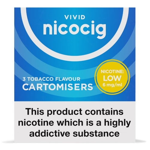 Nicocig (Nicolites) Electronic Cigarette Low Strength Tobacco Refill Cartridges Pack of 3