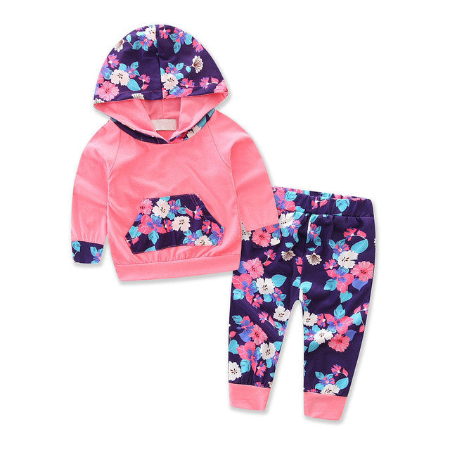 Casual Floral Baby Girls Sportwear