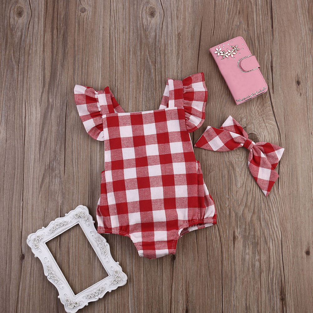Baby Girl Bodysuit, Romper & Headband Summer Red