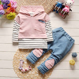Baby Girls Outfit Hooded Top & Pant (3 Colors)