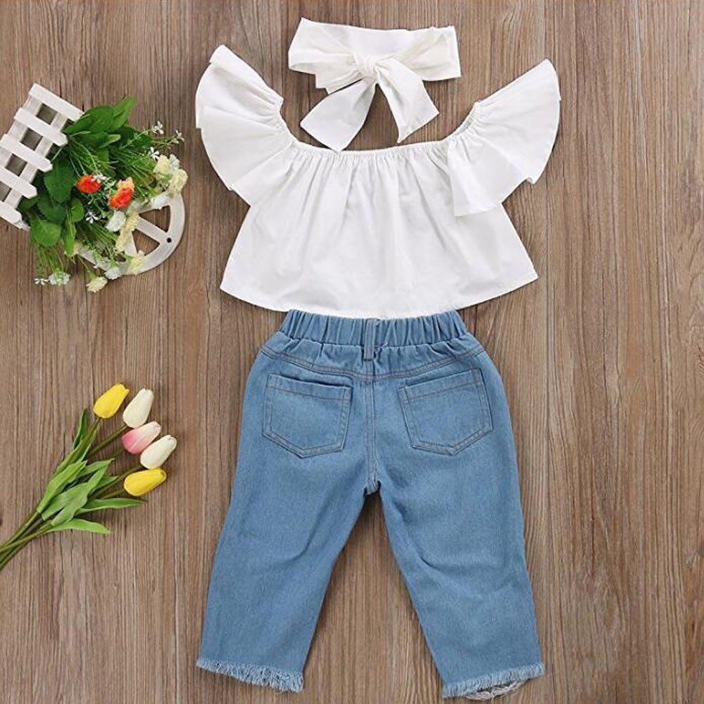 Stylish Denim Baby Girls Outfit Set