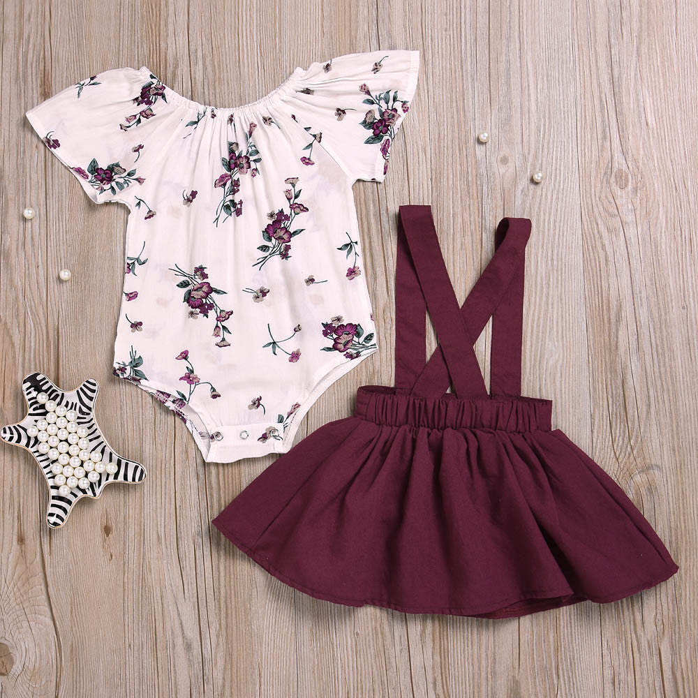 Stylish Floral Baby Girls Outfit (2 Colors)