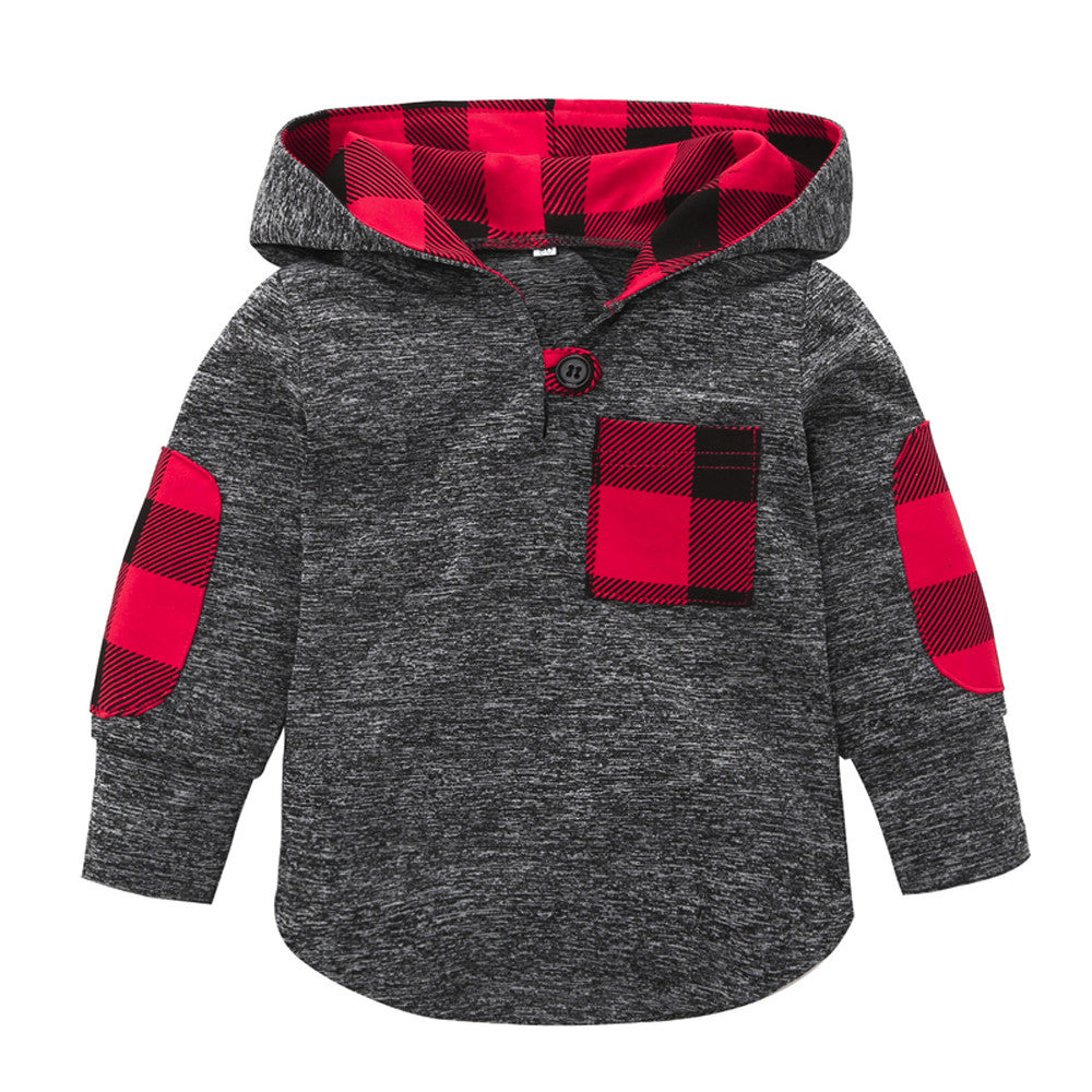 Plaid Pocket Baby Boys Hoodie
