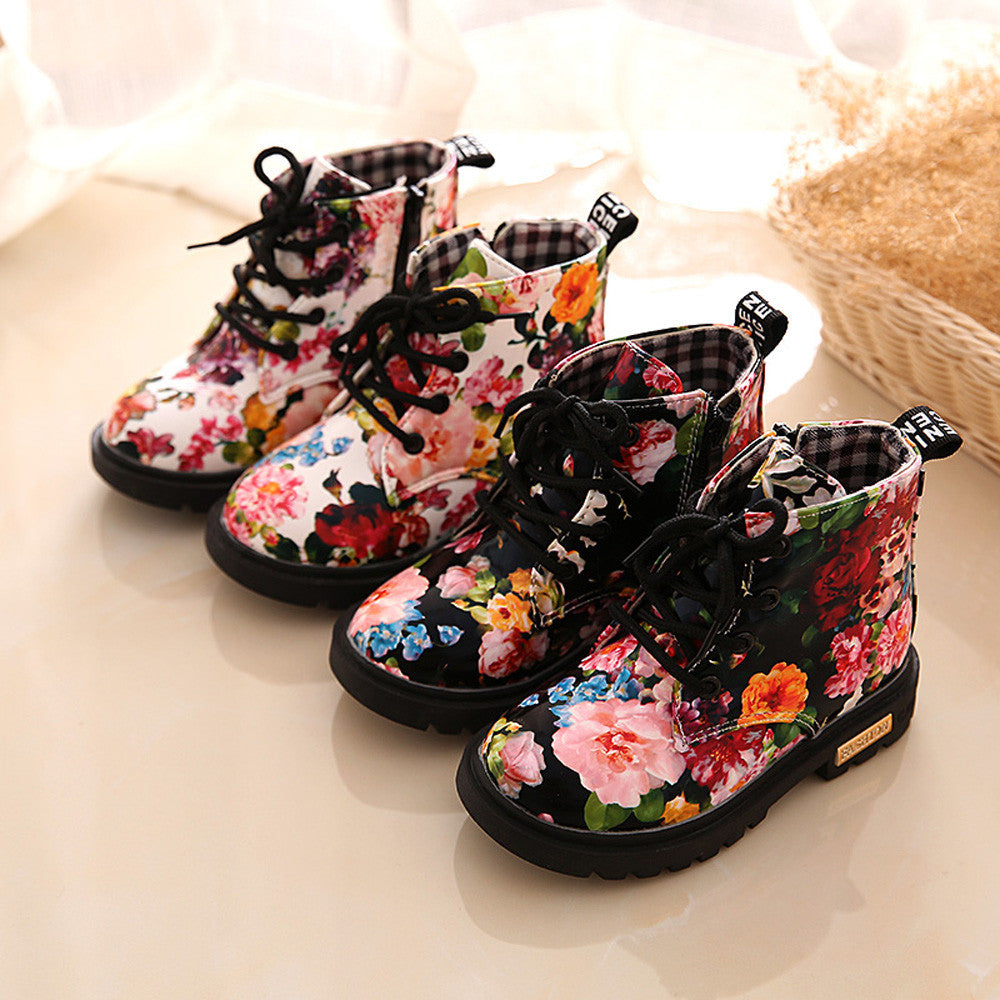 Fashion Floral Girls Boots (2 colors)