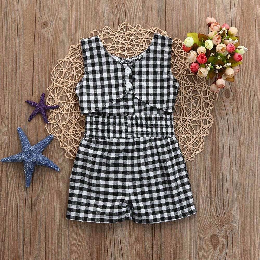 Plaid Sleeveless Baby Girls Outfit