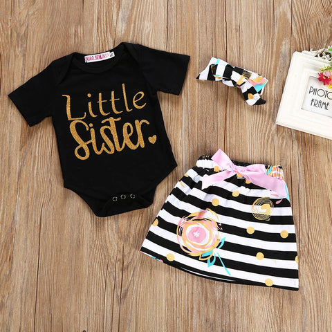 Little Sister Baby Girls Outfit Set