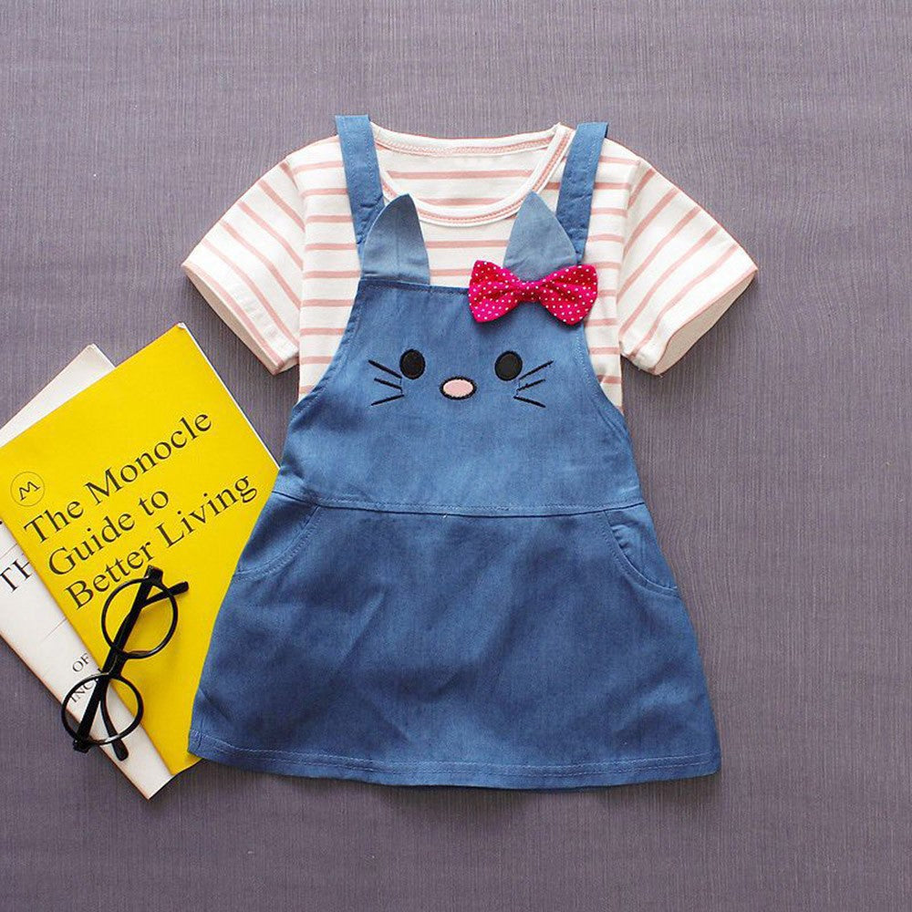 Cute Face Baby Girls Dress (2 Colors)