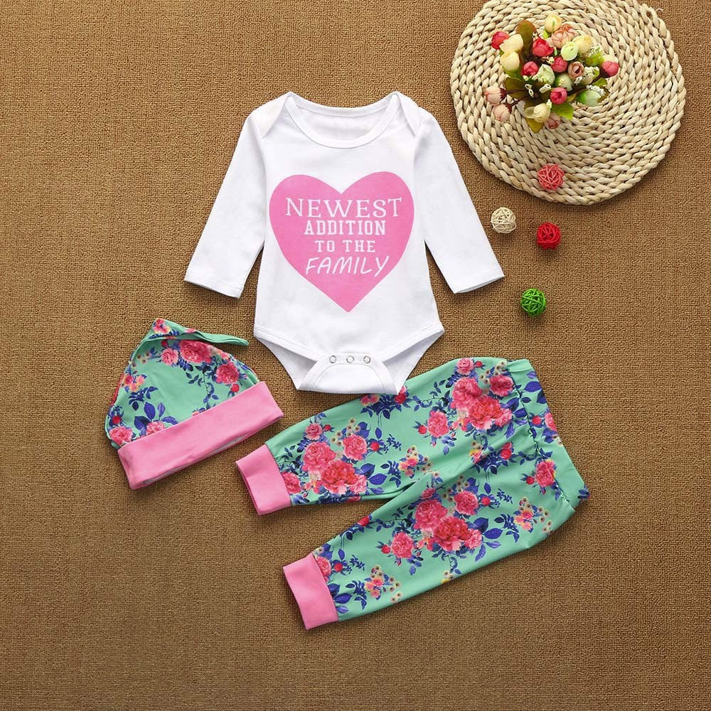 Pink Heart Baby Girl Outfit Set