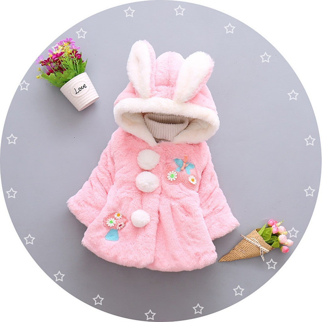 Fluffy Bunny Baby Girls Jacket (2 Colors)