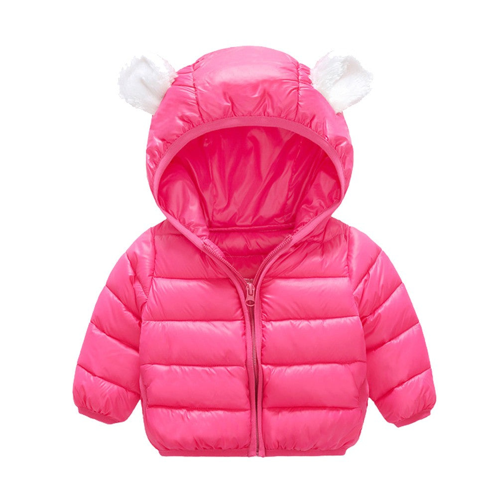 Fluffy Ears Baby Girls Jacket  (6 Colors)