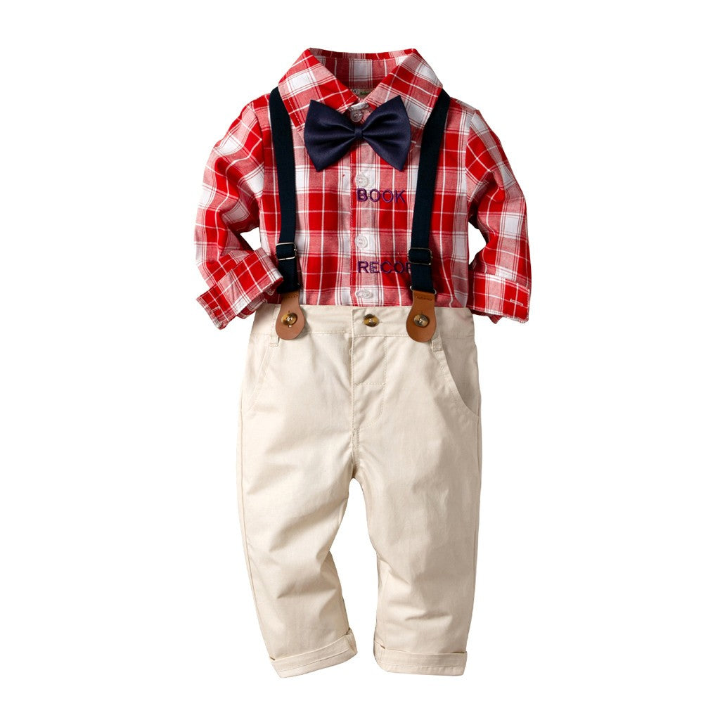 Bowtie Plaid Stylish Boys Outfit set