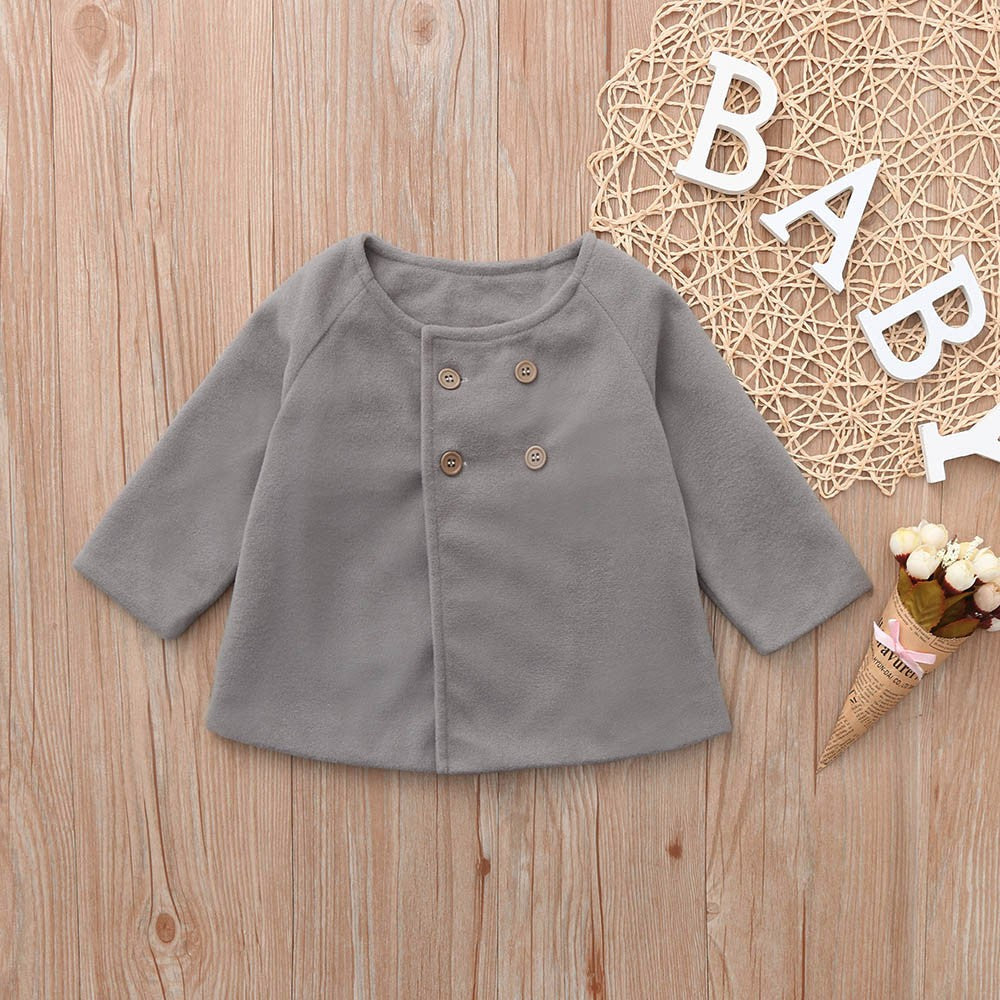 Button Cloak Baby Girls Jacket  (3 Colors)