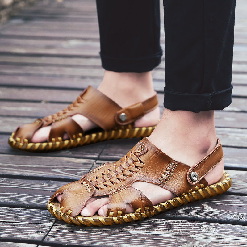 Woven Leather Sandals ComfySandalsMen ClassicBeachShoes