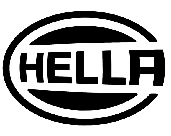 2x Hella logo die cut vinyl decal