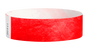 "A Tyvek®  3/4"" x 10"" Sheeted Solid Neon Red wristband"
