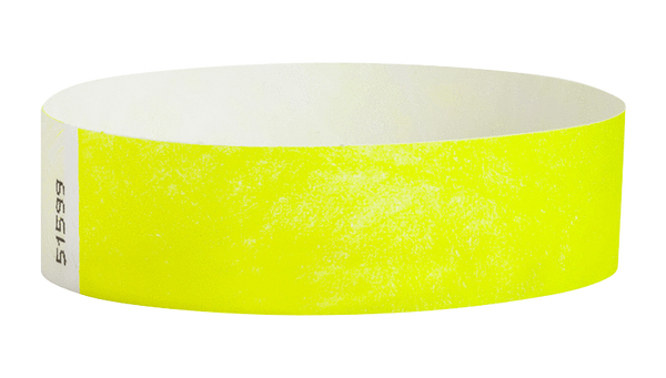 "A Tyvek®  3/4"" x 10"" Sheeted Solid Neon Yellow wristband"