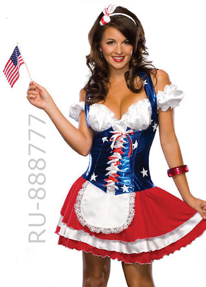 American Fourth of July USA patriotic dress 888777