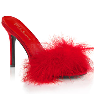 Marabou feather slipper with 4-inch heel Classique-01F