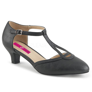 black faux leather T-Strap pump shoes with 2-inch heels Fab-428