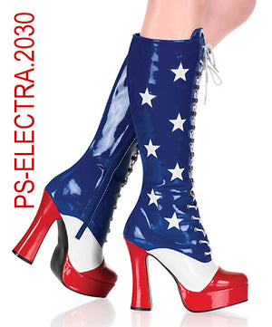 Patriotic American Stars and Stripes Boots 5-inch Heels