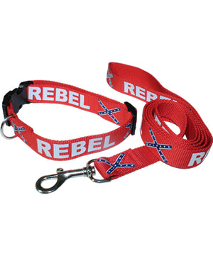 Rebel Confederate Flag Dog Collar and Leash Set