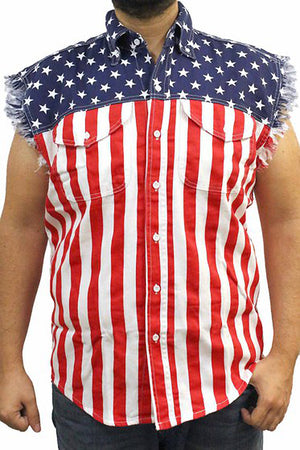 American flag frayed sleeveless men's denim biker shirt SD-USA