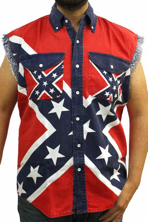 ST-SDR Rebel Flag Frayed Sleeveless Men's Denim Biker Shirt