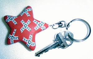 Confederate flag key ring with large 2-inch red Rebel star KR15