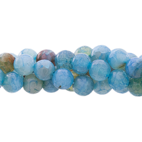 "GM-0018 -8mm Antique Blue Agate Faceted Round Gemstone Bead Strand | 16"" Str"
