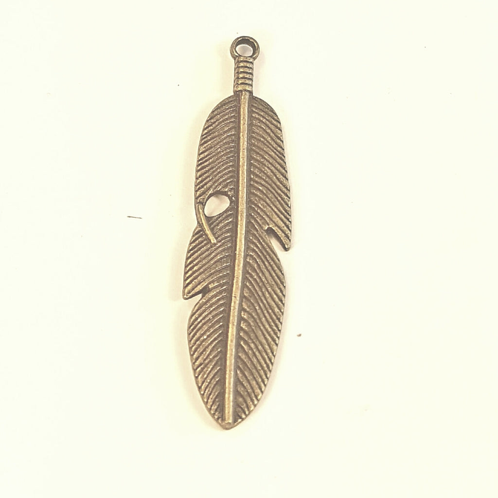 AB-0306 - Antique Brass Pewter Feather Pendant,14x60mm | Pkg 2