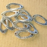 AB-0024 - Antique Silver Pewter Curved Oval Jewelry Links, 12x22m | Pkg 10
