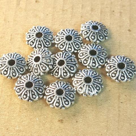AB-0013 - Antique Silver Metal Bead, Scrolled Rondelle, 4x9mm | Pkg 20