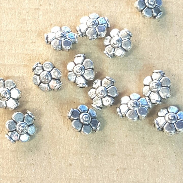 AB-0076 - Antique Silver Metal Bead,  Flower, 8x9mm | Pkg 20