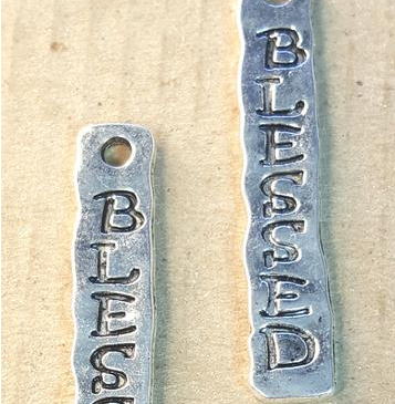 AB-0037 - Silver Pewter Blessed Pendant,7x40mm | Pkg 2
